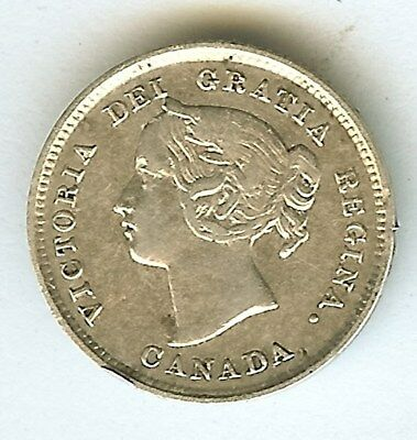 Canada 1892 Silver 5 Cents  About Uncirculated