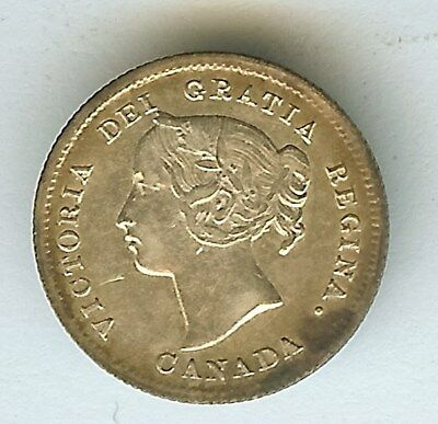 Canada 1899 Silver 5 Cents  Choice About Uncirculated