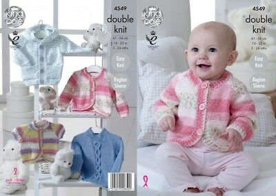 King Cole Baby Hoodie, Cardigans & Sweater Knitting Pattern 4548 DK (KCP...
