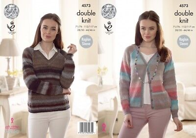 King Cole 5230 Knitting Pattern Womens Raglan Sweater and Cardigan in Sprite DK