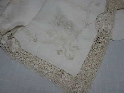 "ANTIQUE IVORY LINEN & LACE w EMBROIDERED FLOWER TABLECLOTH 70"" X 118"" GORGEOUS!!"