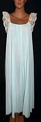 Beautiful Vintage Blue Silky Soft Nylon Long Nightgown White Lace lucie ann? L