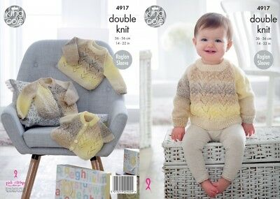 King Cole Baby Cardigans & Sweaters Melody Knitting Pattern 4917  DK (KCP...