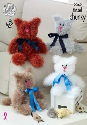 Free UK P&P - King Cole Cats Cuddly Toys Tinsel Knitting Pattern 9049  Ch...