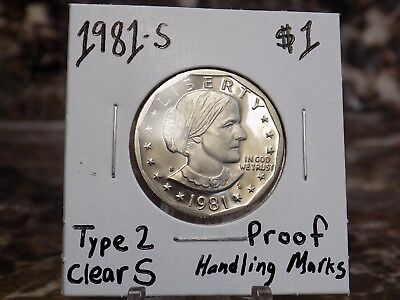 "1981-S Type 2 $1 Susan B. Anthony Proof Coin Clear ""S"" US Mint Proof Type Coins"