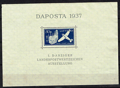 Danzig Germany Aircraft over Famous Castle Souvenir Sheet 1937 MNG