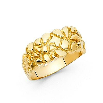 Solid Nugget Band Ring 14k Yellow Gold Textured Polished Finish Diamond Cut Mens