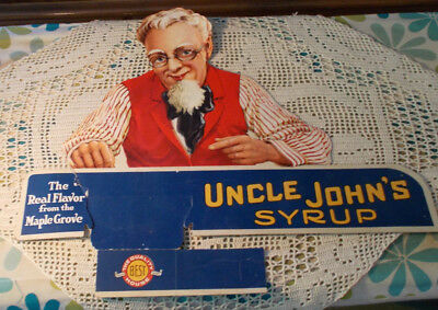 "RARE Vintage Antique 17"" Uncle John's Maple Syrup Advertising Sign Display LOOK"