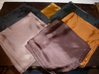 6 Hand Rolled Silk Pocket Squares, Various Colors, New Old Stock, Excellent