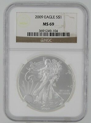 2009 1oz American Silver Eagle - NGC MS 69 * Brown Label * - Cert# 3691249-104