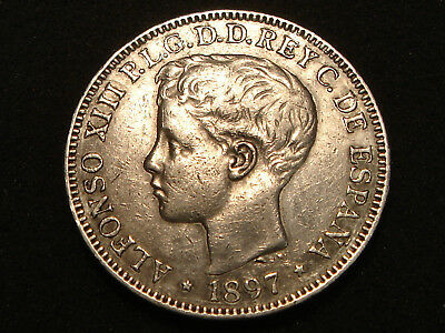 1897 Philippines Silver Un Peso Boy King Alfonso XIII of Spain XFdetails-cleaned