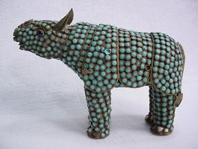Noblespirit NO RESERVE {3970} Antique Brass Turquoise Stone Rhino Figurine!