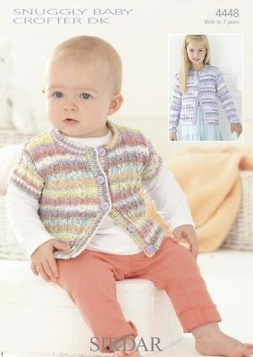 Free UK P/&P Sirdar Girls Cardigans Supersoft Knitting Pattern 2382  Ara...