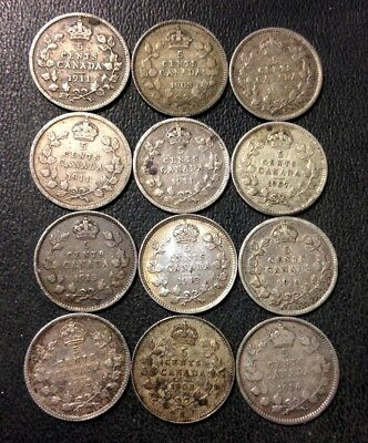 Old Canada Coin Lot - 1903-1914 - 12 Silver 5 Cents - Rare Coins - Lot #M19