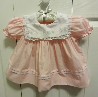 Vintage Pink Party Ruffle Dress Baby Girl Size 24 Months Frilly Lace Embroidery