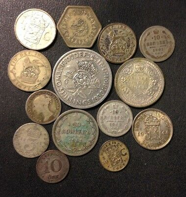 Vintage WORLD Silver Coin Lot - 1877-1944- 14 GREAT COINS - Lot #M19