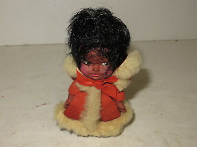 "% Vintage Plastic Black Americana Christmas Female Doll 4""  %"