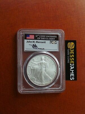 2006 W Burnished Silver Eagle Pcgs Sp70 Very Rare In Flag Mercanti Signed Label!
