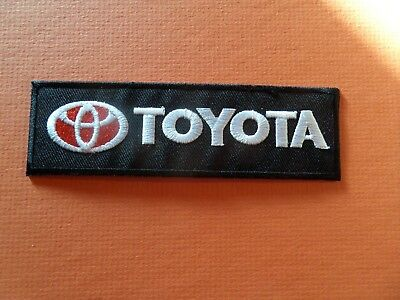 TOYOTA LOGO sliver & black & red Embroidered 1-3/8 x 4-5/8 Iron On Patch