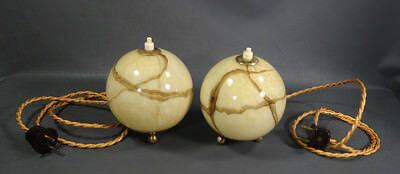 Antique German Bauhaus Art Deco Gild Marbled Slag Glass Ball Table Lamps pair