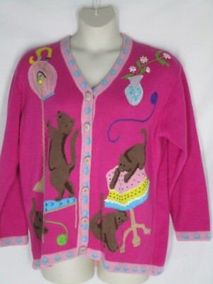 Storybook Knits Hot Pink Kitty Cat Cardigan Sweater 1x Birdcage