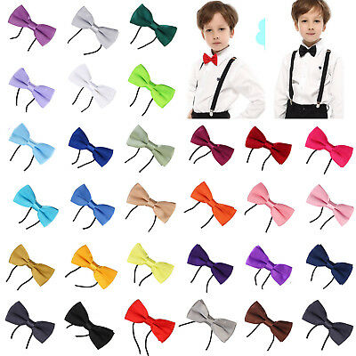 Kids Boys Childrens Adjustable Pre Tied Satin Wedding Dress Bow Ties 30 Colors