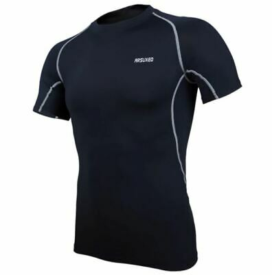 Compression Top Base Layer Mens Short Sleeve Arsuxeo Black