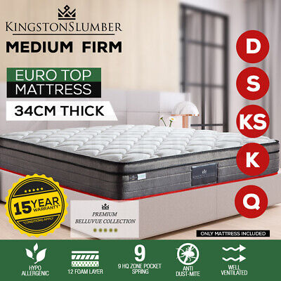 QUEEN DOUBLE KING SINGLE Mattress Bed Euro Top Pocket Spring Bedding Foam 34CM