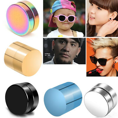 1 Pair Women Magnetic Stud Earrings For Men Boy Metal Magnet Ear Decoration