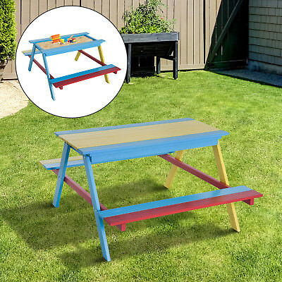Awesome Childrens Wooden Sandpit And Multi Coloured Picnic Table Pabps2019 Chair Design Images Pabps2019Com