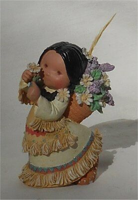 1994 Enesco Friends of the Feather Girl With Flowers