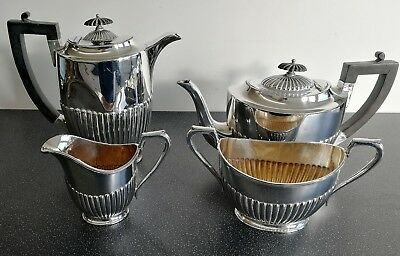 Antique Silver Plated EPBM Half Fluted 4 Piece Tea Set by Pinder Brothers
