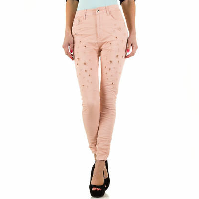 DESTROYED HIGH WAIST SKINNY DAMEN JEANS 42 Rosa 3650