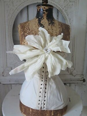 FRANKREICH antique 20s MILLINERY XXL Hat Flower Paris STOFF BLÜTE french Shabby