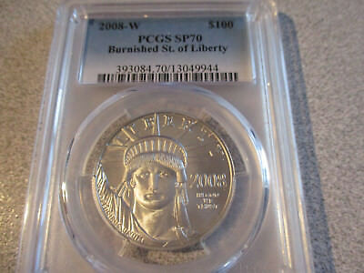 2008-W PCGS SP70 Burnished Statue of Liberty 1oz. $100 Coin