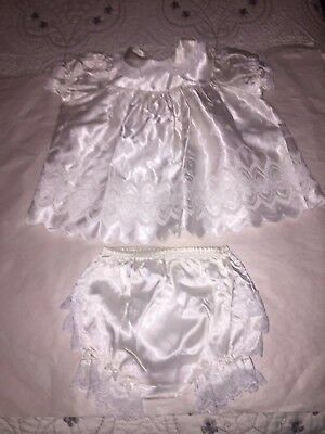 Vintage Baby girl white Satin lace 2-Piece 0 - 3 mos infant Baptism