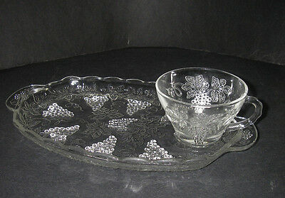 Anchor Hocking Glass VINTAGE Clear Snack Set Plate & Cup Grapes & Leaves.