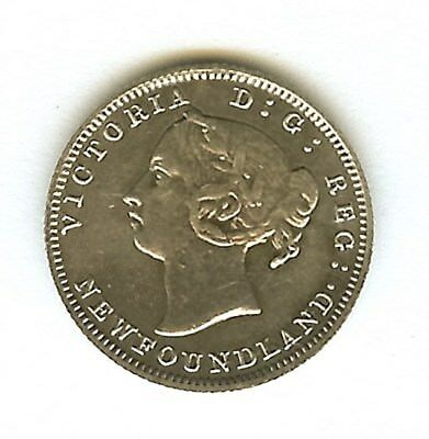 Newfoundland 1896 Silver 5 Cents About Uncirculated