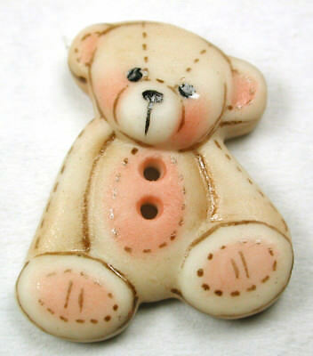 """Handcrafted Porcelain Button Realistic Sitting Teddy Bear FREE US SHIPPING 1"""""""