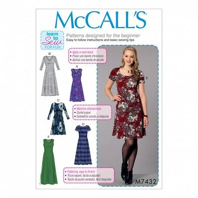 Mccalls 7432 Sewing Pattern To Make Stretch Pullover Dress Learn