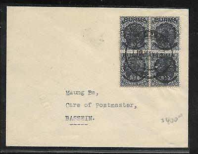 Burma  (P2909B) Japanese Occupation  Cover Kgv 3P Bl Of 4 Ovpt On India 1942 B/s