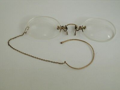 Pince Nez Spectacles / Ear Clip Safety Chain / Rolled Gold / Vintage