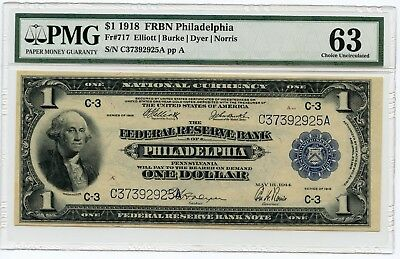 1918 $1 Lg.Sz.  FRBN Philadelphia National Currency Note Fr#717 CH UNC 63  PMG
