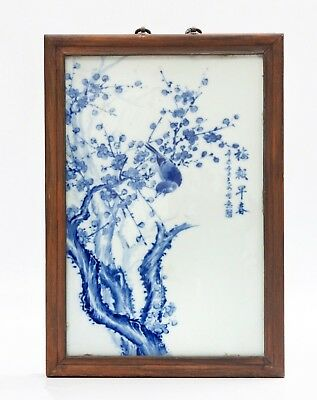 Fine Antique Chinese Hand Painted Bird Blue & White Porcelain Wall Plaque Signed