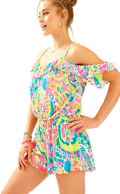 f7077f934ef3  148 Lilly Pulitzer Fenella Come Out Of Your Shell Cold Shoulder Short  Romper M