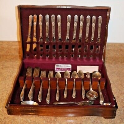 "1847 Rogers Bros. 75 Piece ""Adoration"" Silverplate Flatware Set w/ Case"