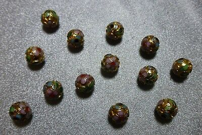8mm gold colored metal w/floral design Cloisonne beads, 97 beads, NOS LJ611