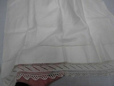 ANTIQUE PURE IRISH LINEN KING SIZE PILLOWCASE w HAND KNIT LACE EDGE 20x33
