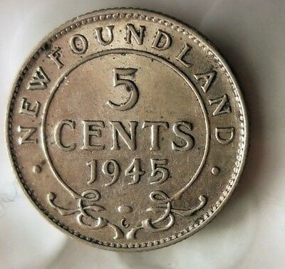 1945 NEWFOUNDLAND 5 CENTS - Low Mintage High Quality Silver Coin - Lot #M20