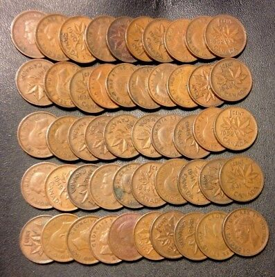Old Canada Coin Lot - 1937-1952 - 50 KING GEORGE VI Pennies - Lot #M20